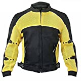 Xelement CF509 Mens Black/Yellow Armored Mesh Jacket - 3X-Large