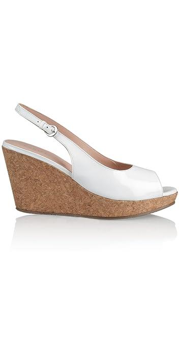d9738316c Vanilla Moon Marie Wedges Ladies Womens Patent Leather Slingback Buckle  Court Platform Wedge Heel Cork Sandals