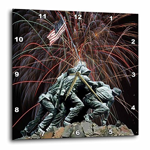3dRose DPP_14248_1 Wall Clock, Marine Corp Memorial with Fireworks, 10 by 10-Inch