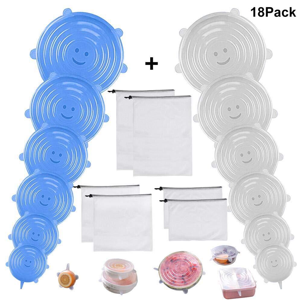 Eink/äufe 12-teilige Silikon-Stretchdeckel Spielzeug ENCEEN Wiederverwendbare Produktbeutel 6-teiliger waschbarer Netzbeutel f/ür Lebensmittel Obst und Gem/üse Aufbewahrung