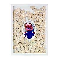 Gästebuch im Rahmen inkl. 72 Herzen aus Holz und Fotorahmen 43 x 31 cm - ideal für Hochzeit, Taufe, Geburtstag uvm.
