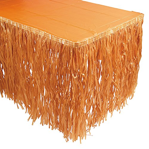 Natural-Color Artificial Grass Raffia Table Skirt Sale