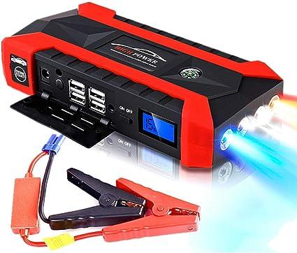 Surfiiy Avviatore Emergenza per Auto e Moto Torcia LED Uscita USB Quick Charge per Smartphone 89800mAh //12v 600A LCD 4 USB Portatile Batteria Car Jump Starter Booster Auto Power Bank
