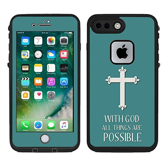 sports shoes 8a992 e3632 Protective Designer Vinyl Skin Decals / Stickers for Lifeproof Fre iPhone 7  Plus / iPhone 8 Plus Case -Christian Cross Quote Design Patterns - Only ...