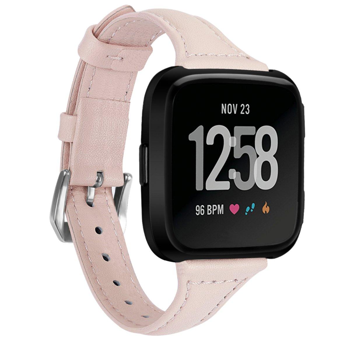 btchoice for Fitbit Versaストラップ、本革バンド交換リストバンドfor Fitbit Versaブレスレットスマート腕時計 ピンク ピンク B07C4HJPSZ