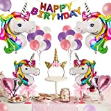 Unicorn Party Supplies - 42 Pcs for Birthday Decorations,Birthday party favors for kids,Rainbow birthday banner,Glitter Unicorn Headband,foil heart Birthday balloons with Air Pump