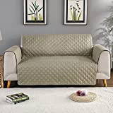 Sobibo Anti-Slip Couch Cover Sofa Slipcover for 2 Cushion with Elastic Strap Furniture Protector, Seat Width Up to 46'' (Loveseat, Khaki)
