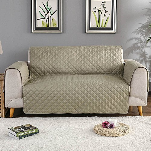"""Sobibo Anti-Slip Couch Cover Sofa Slipcover for Chair with Elastic Strap Furniture Protector,Perfect for Kids, Dogs and Cats, Seat Width Up to 21"""" (Chair, Khaki)"""