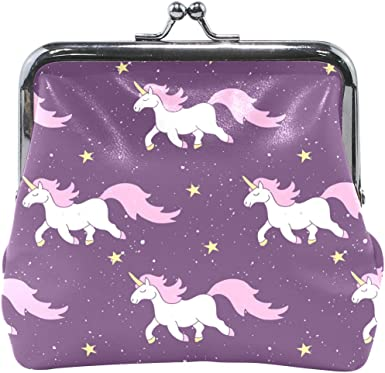 Floral Pink Horse Girl Coin Purse Buckle Vintage PU Pouch Kiss-lock Wallet for Women Girl