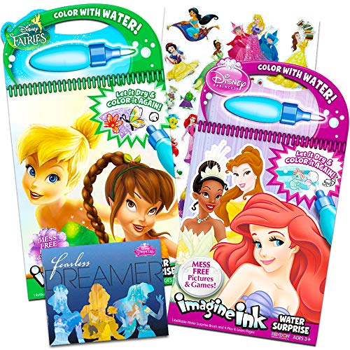 Disney Princess Paint With Water Super Set for Girls Kids Toddlers -- 2 Deluxe Disney Paint Books with Water Surprise Brushes and Stickers (Featuring Disney Princess and Disney Fairies) -