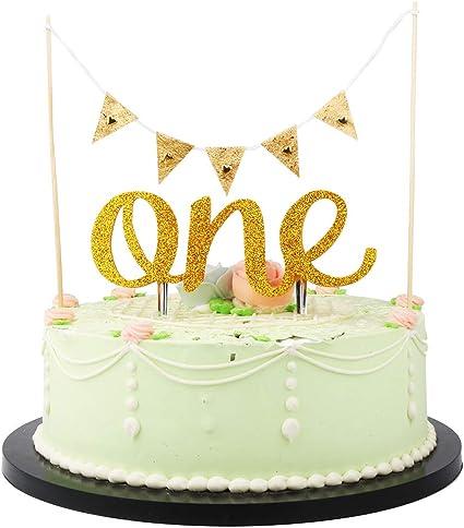 Baby Boy Girl 1st Birthday Cake Topper Cake Banner Birthday Party Cake Decor