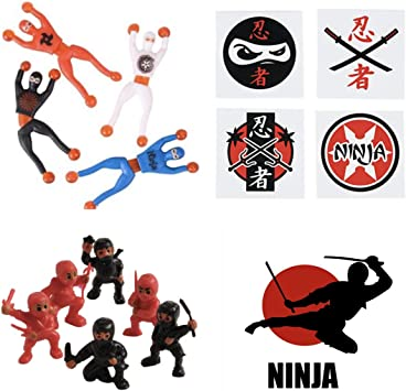 Amazon.com: Ninja Warrior Party Favors – 36 Tatuajes – 12 ...