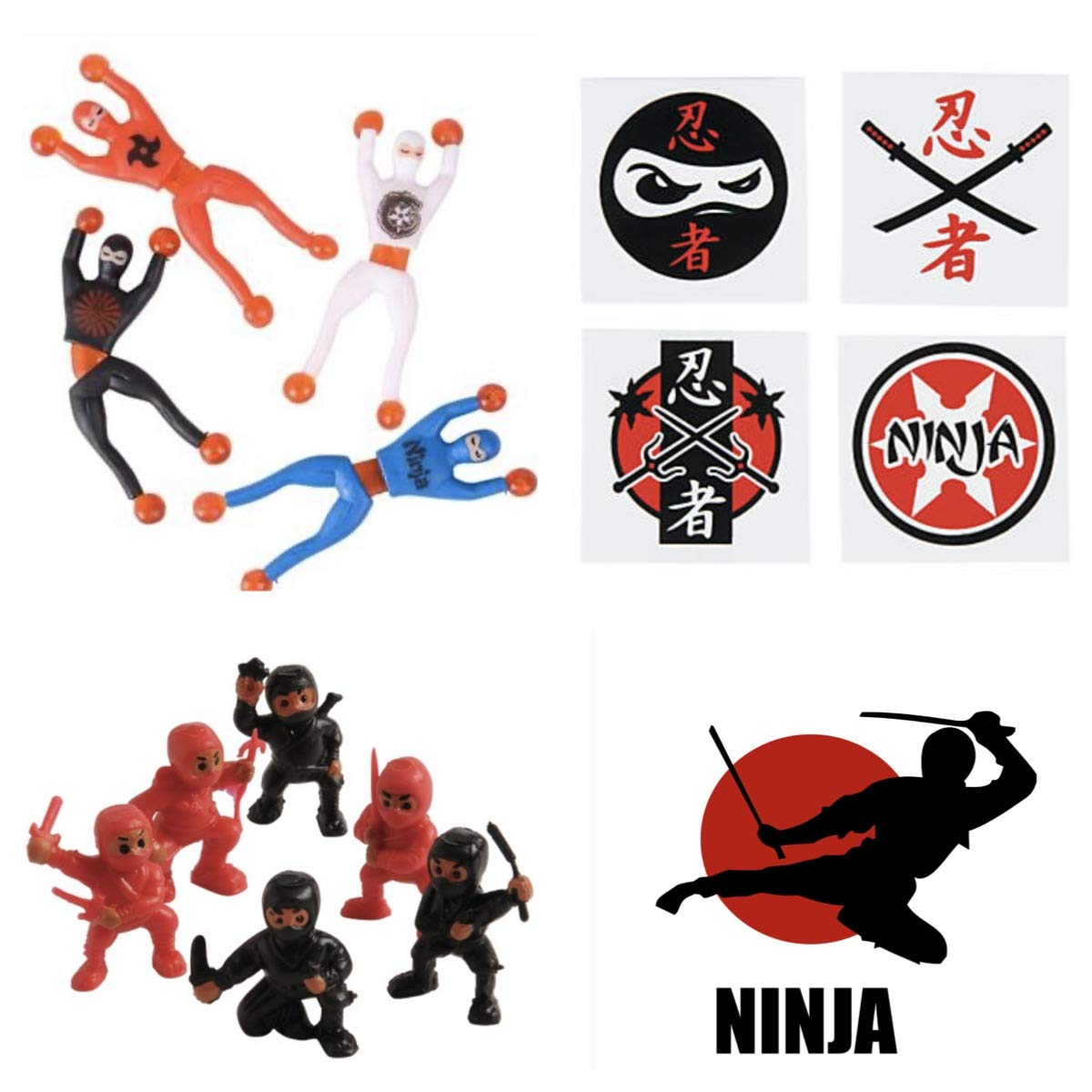 Just4fun Ninja Warrior Party Favors - 36 Tattoos - 12 Figures - 12 Wall Crawlers & 24 Stickers - Martial Arts - Karate Classroom Prizes