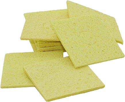 10Pcs High Temperature Sponge Clean Tin Welding Soldering Iron Round Square HI
