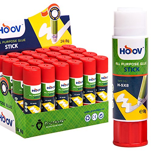 HOOV All Purpose Cylindrical Glue Stick PVP | 24Pcs - Best for Fabric, Artwork, Decors, Mount Pictures, School and Office Uses - Bulk Supplies - School & Office Use - 100% Safe, Acid-Free - 0.28 oz ()