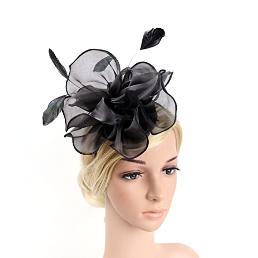 cab384f603c71 Hilary Ella Charming Mesh Feather Hair Clip Women Girls Hairpin Cocktail  Party Flower Barrette Fascinator Hat