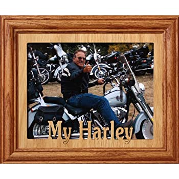 8x10 MY HARLEY Landscape Picture Frame ~ Fruitwood Stained Oak Frame ~ Gift for a Harley Davidson Lover