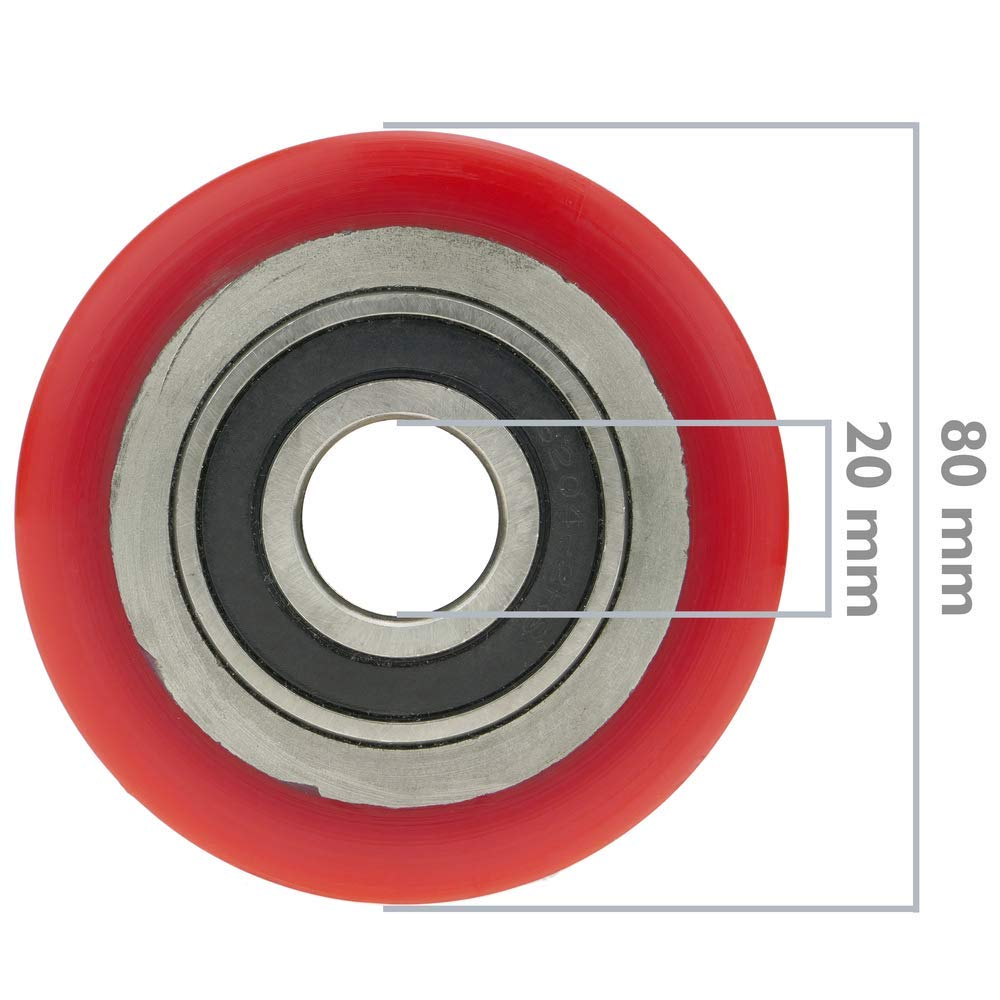 PrimeMatik Wheel for pallet truck polyurethane roller 80x70 mm 800 Kg 4-pack