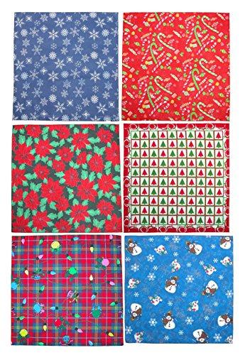 CTM Christmas Holiday Bandana Variety Pack (Pack of 6), Christmas Variety (Christmas Bandanas)