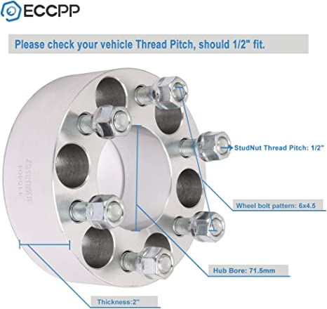 ECCPP 6x4.5 50mm Wheel Spacer Adapters 6 Lug 2 inch 6x4.5 to 6x4.5 71.5mm hub Compatible with 1998-2006 Durango 1993-2010 Viper