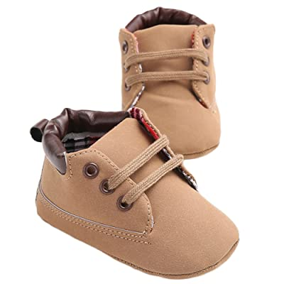 WAYLONGPLUS Infant Baby Boys Prewalker PU Non-Slip Baby Shoes : Baby
