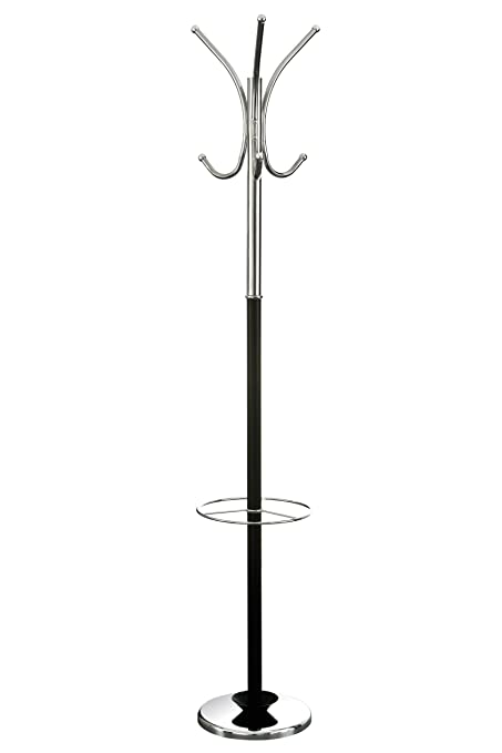 Premier Housewares - Perchero de pie con paragüero (30 x 30 x 182 cm), color cromo brillante y negro