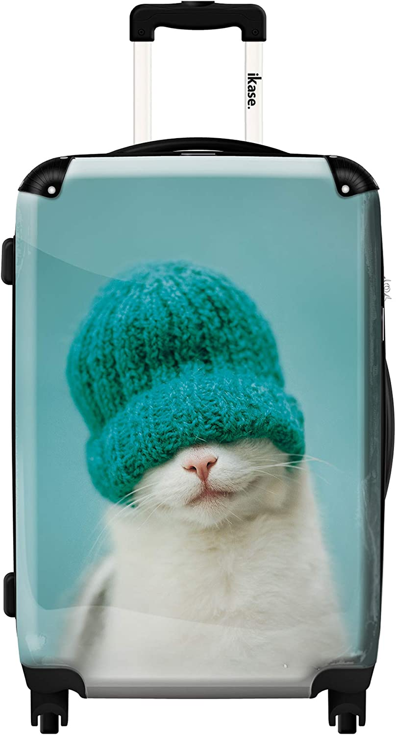 Ikase Hardside Spinner Luggage Cat with a hat