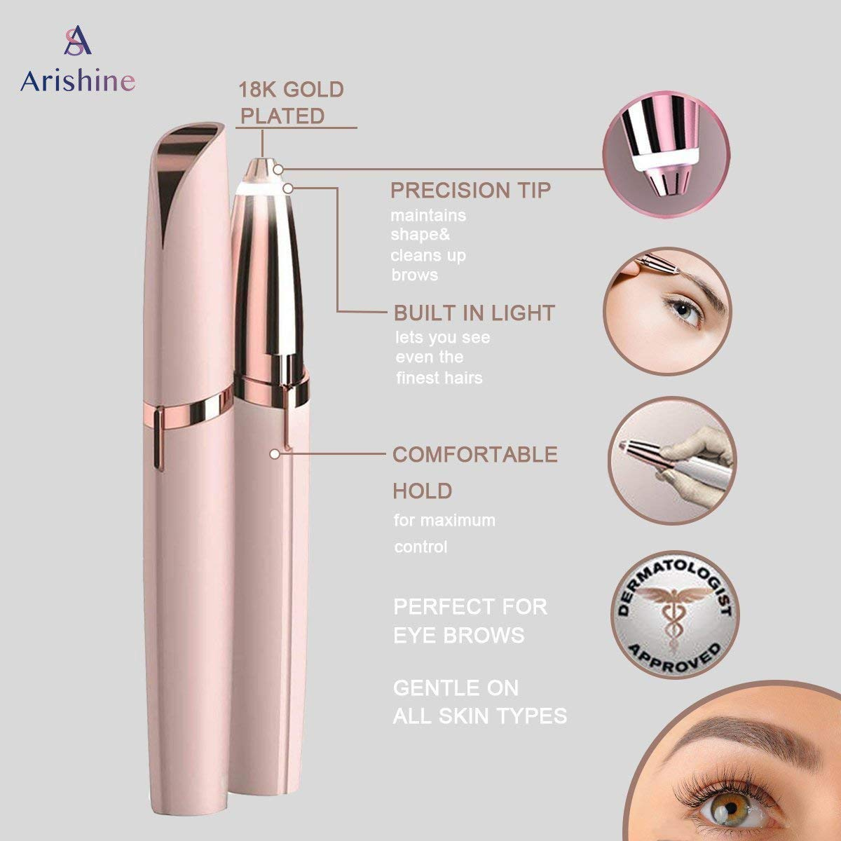 Electric Flawless Brows Eyebrow Hair Remover, Women's Painless Hair Remover for Nose, Eyebrow Hair, Face Lip, Flawlessly Brow Hair Remover Arishine(no battery) by Arishine (Image #1)