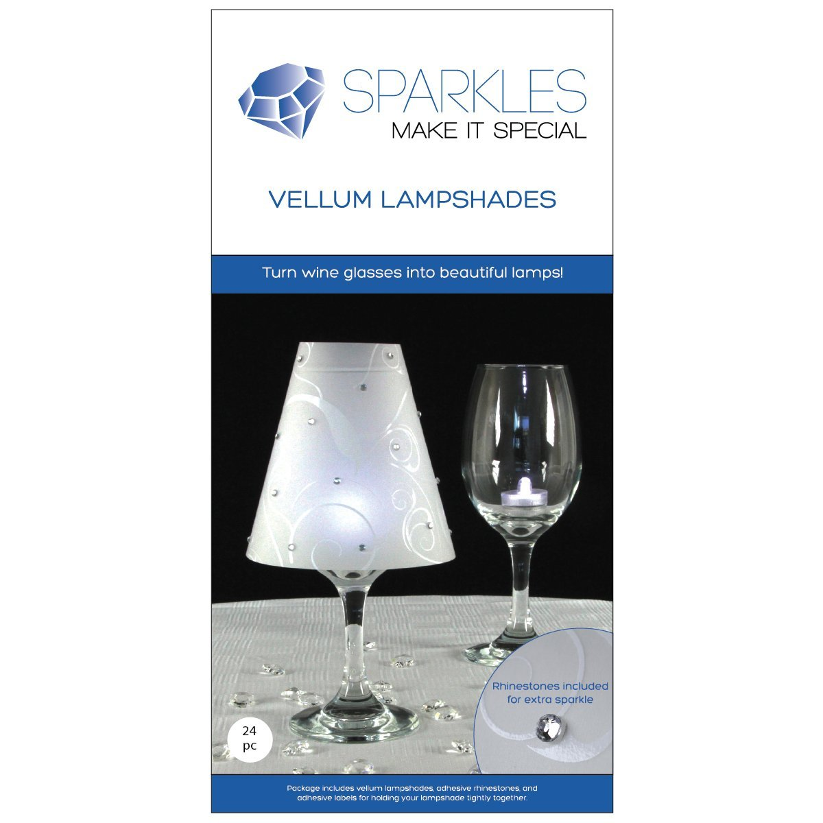 Sparkles Make It Special 24 pc Wine Glass Lamp Shades with Rhinestones - Wedding Party Table Centerpiece Decoration - White Vellum Swirl Print