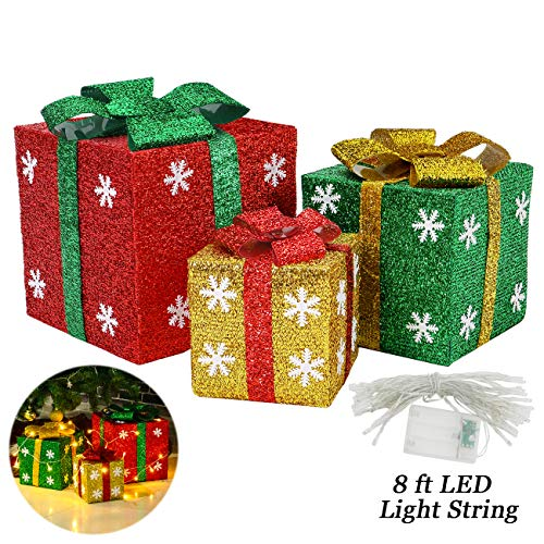 Sunnyglade Set of 3 Christmas Lighted Gift Boxes with Bows Present Boxes for Christmas, Weddings Yard Home Holiday Art Decorations (Red Green and Yellow)