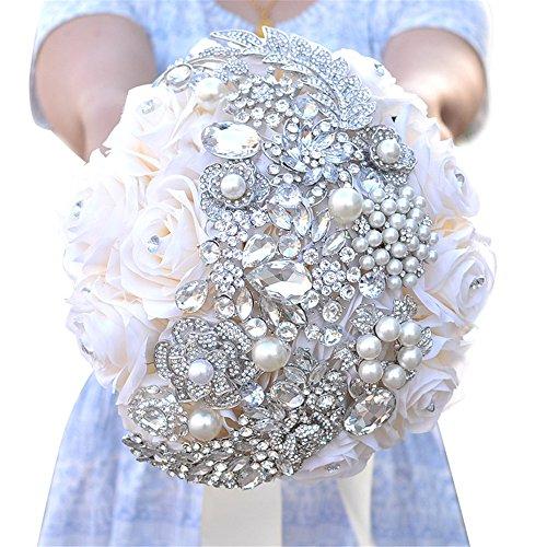 KUKI SHOP Handmade Romantic Satin Roses Crystal Rhinestones Wedding Brooch Bouquet Bridal Holding Bouquet Bridal Throw Bouquet Bridesmaid Bouquet Wedding Decoration Flowers (White)