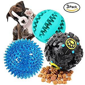 Dog Treat Dispensing Toy IQ Ball with Squeaker Rubber Dog Chew Puzzle Toys