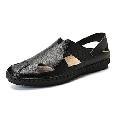 6a6c61e8f891 VILOCY Men s Leather Slip On Fisherman Sandals Closed Toe Outdoor Walking  Comfortable Beach Shoes Black