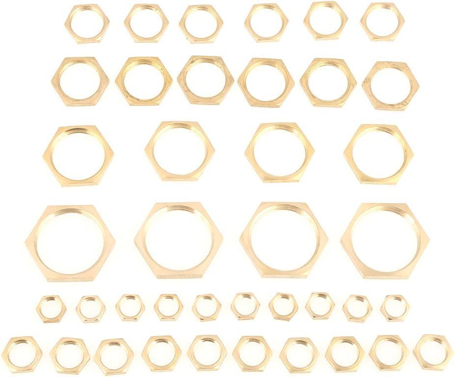 Brass Lock Nut Assortment 40pcs Assorted G1//8 G1//4 G3//8 G1//2 G3//4 G1 Thread Pipe Fitting Brass Hex Lock Nuts Thin Nut