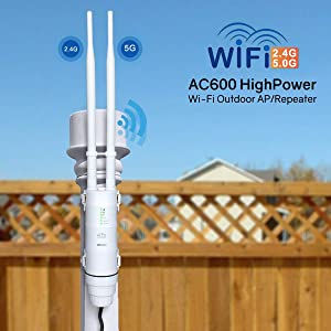 WAVLINK Upgrade Version AC600 Outdoor WiFi Access Point, ARIEAL HD2 High Power Long Range Dual Band 2.4+5G 600Mbps Wireless Router/AP/Wi-Fi Range Extender 3 in 1 Weatherproof with PoE