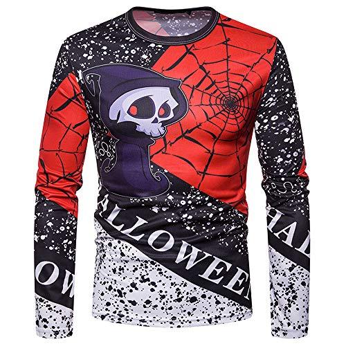 iDWZA Halloween Men Autumn Winter Halloween PrintingTop Men's Long-Sleeved T-Shirt Blouse (Black,US XS/CN S)