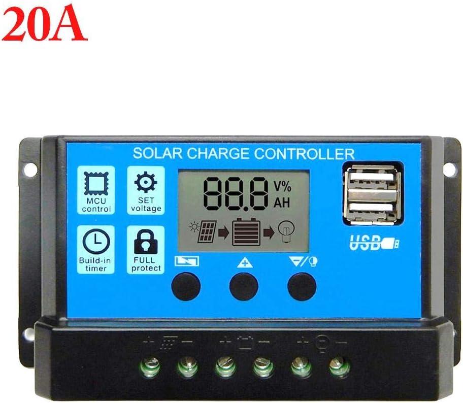 asterisknewly 60A / 50A / 40A / 30A / 20A / 10A 12V 24V Controlador De Carga Solar Automático Controladores PWM LCD Dual USB 5V Salida Panel Solar PV Regulador