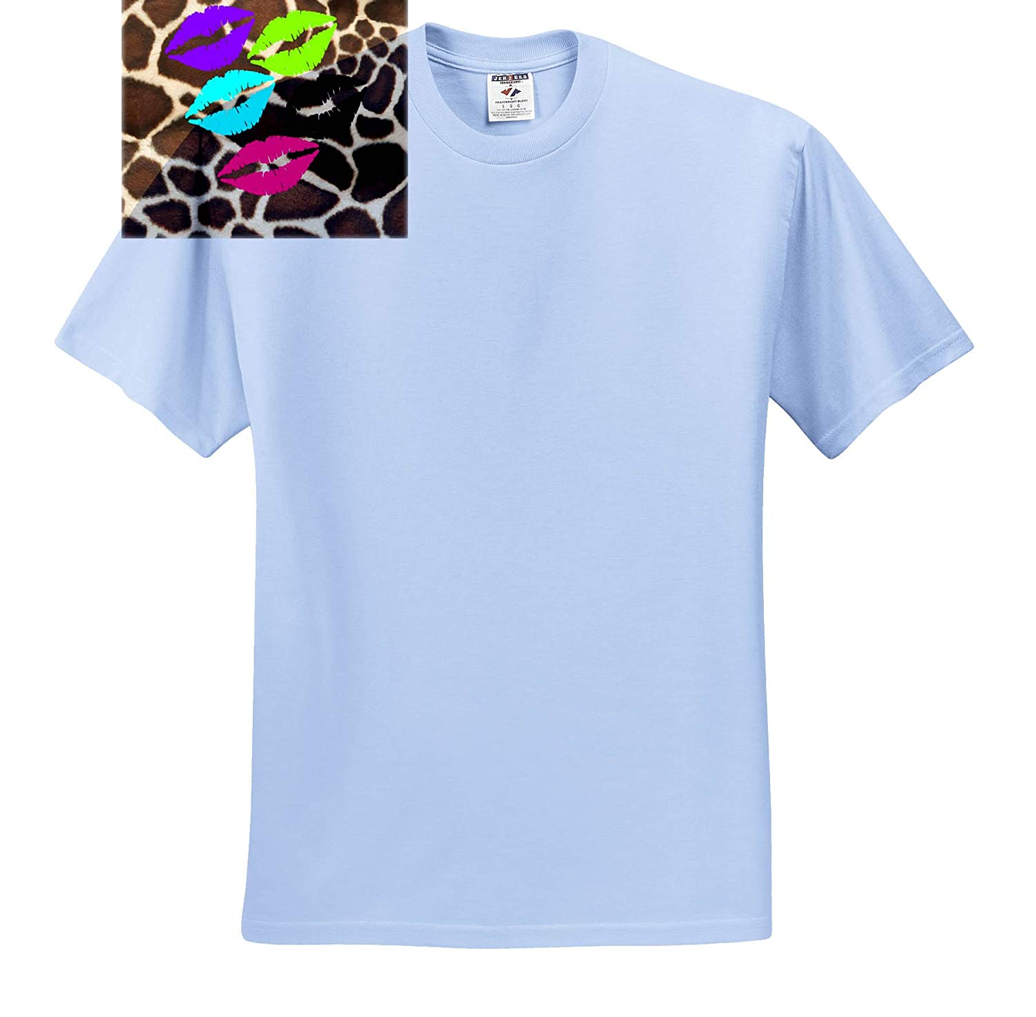 T-Shirts Digital Painting 3dRose Lens Art by Florene Image of Lips in Lime Fuchsia and Purple On Giraffe Print