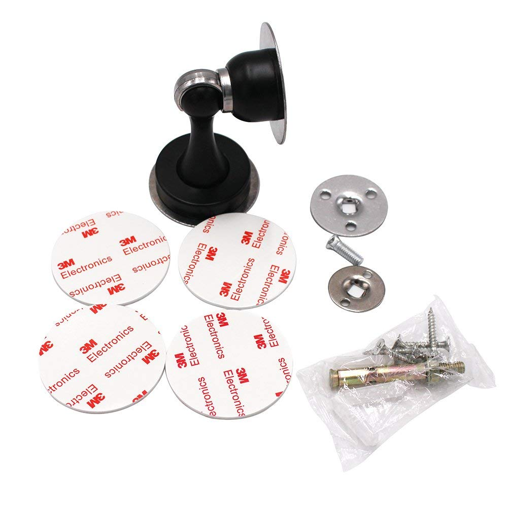 Solid Premium Stainless Steel Door Stop Catch Holder Doorstop Tools for Home and Office NO Need to Drill Black Magnetic Door Stopper