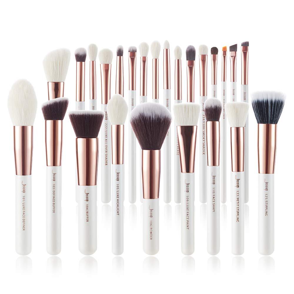 Jessup Brand 25pcs Professional Makeup Brush set Beauty Cosmetic Foundation Power Blushes eyelashes Lipstick Natural-Synthetic Hair Brushes set (Pearl White/Rose Gold)