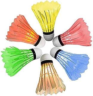 Sohapy Lot de 6LED multicolores Set de badminton, Dark Night volants en plumes Birdies éclairage pour parc, intérieur, extérieur, Sports, plage, Dark Night volants en plumes Birdies éclairage pour parc intérieur extérieur