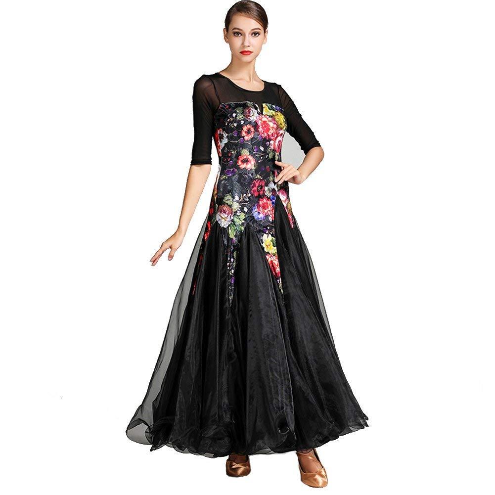 社交ドレス用女性パフォーマンスシフォンサテンベルベットアイスシルク柄プリント長袖無地ドレス  XL