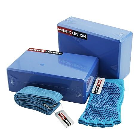 Kit de iniciación de yoga 2 bloques y 1 correa, Azul: Amazon ...