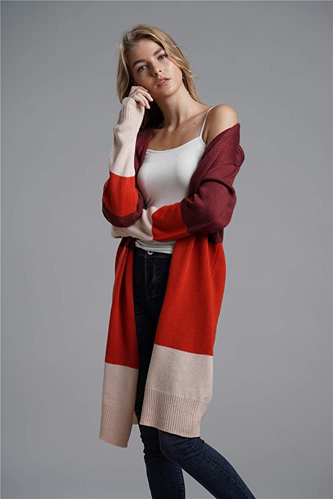 Because I Love You Women Open Front Long Sleeve Classic Knit Cardigan