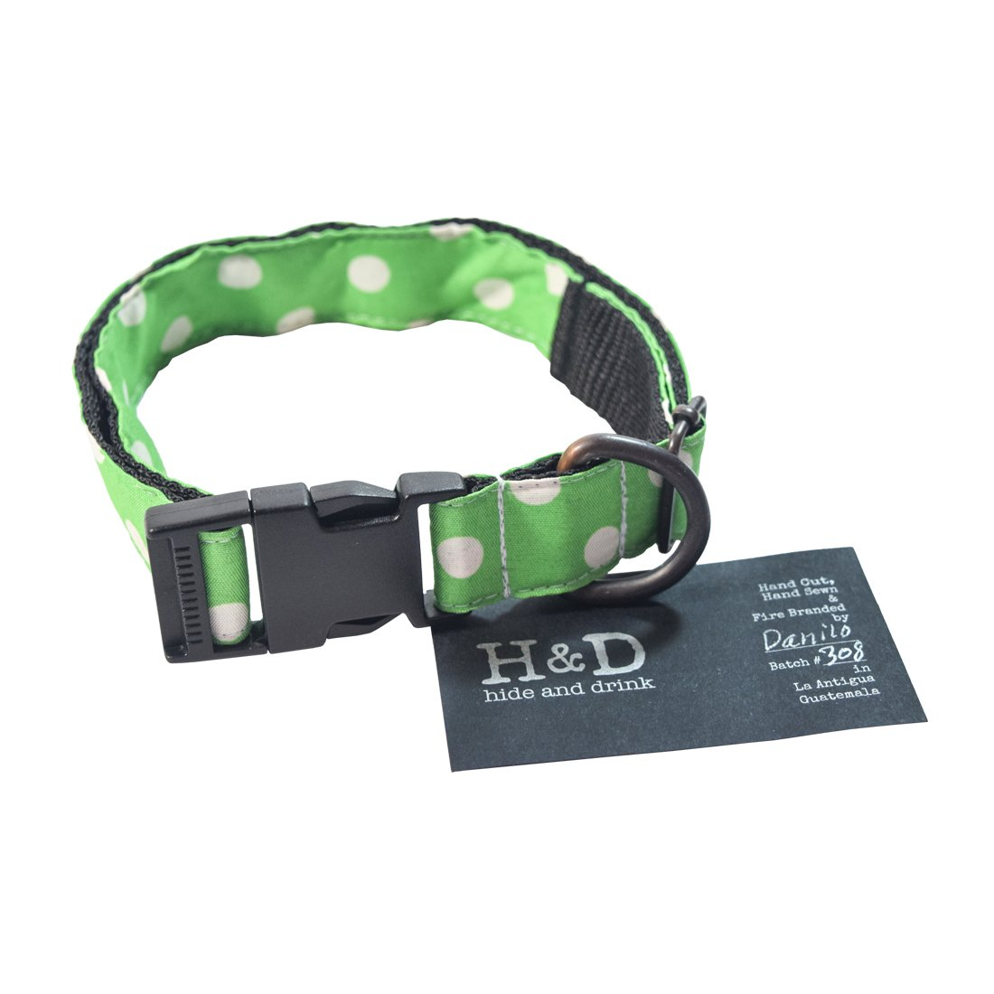 Dog Collar for Small Medium Dogs (14.5-24.5 Inches) Handmade by Hide & Drink    Polka Dots Green