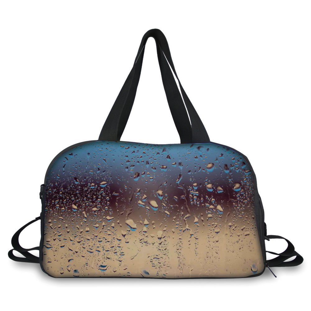 iPrint Travel handbag,Rain,Close Up Rain Drops on Glass Natural Sprays Sphere Contrasting Colors Picture Decorative,Blue Tan Brown ,Personalized