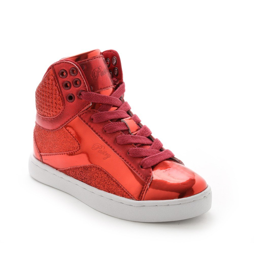 Pastry Pop Tart Glitter High-Top Sneaker & Dance Shoe for Kids B012BU3BRK Size 12|Red