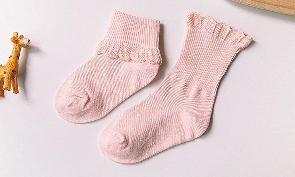 Toddler Girls Lace Trim Socks Cotton Crew Socks