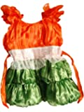 FancyDressWale Girl's Tissue and Cotton Tricolour Frock Dress, 2-4 Years (Multicolour, tricolor002)