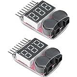 Virhuck 2 pezzi Lipo Batterie Buzzer Tensione Testeur Voltaggio d'alarme avec Suspensione versa 1-8S Lipo / Li-Ion / LiMn / Li-Fe, Tester Voltmetro della Batteria per Drone da corsa / Fuori-strada /Telecomando Elicottero / Multicottero Lipo Tester